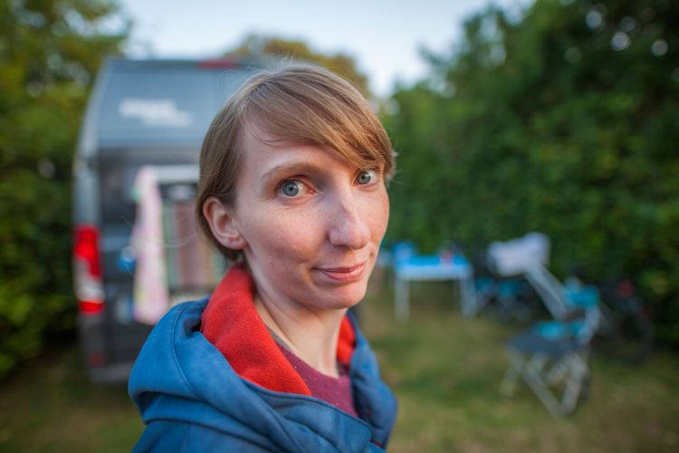 I'm sure she had a very good reason for pulling this face at me. On a campsite in Asturias, Northern Spain, here.