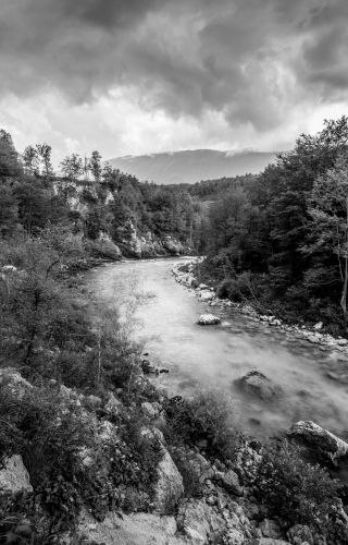As the clouds lifted on our way back from Slap Kozjak, I couldn't resist a homage to Ansel Adams.