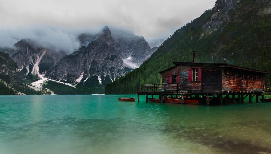 Braved a pretty grim Italian rainstorm to get this shot of the boathouse on Lago di Braies in the Prags Dolomites. Would have loved to have made this a longer exposure but I was fighting the elements to keep the rain off my lens as it was. One day I'll go back when the weather is good and the sun is setting.